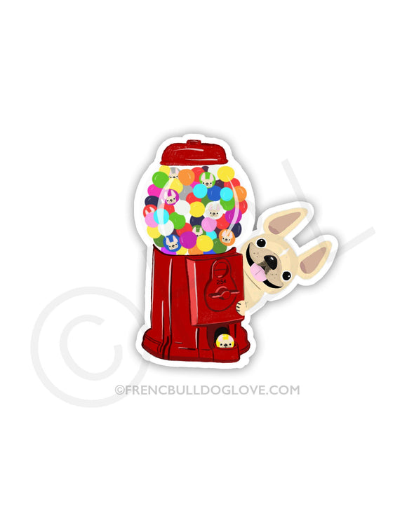 #100DAYPROJECT 23/100 - GUMBALLS VINYL FRENCH BULLDOG STICKER