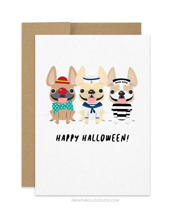 Halloween Trio French Bulldog Greeting Card