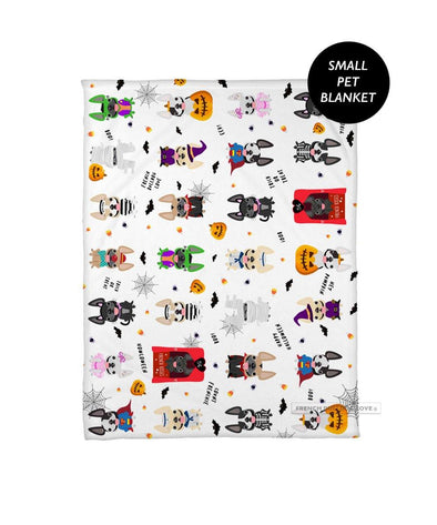 Adorably Spooky French Bulldog Halloween Fleece Blanket - Small