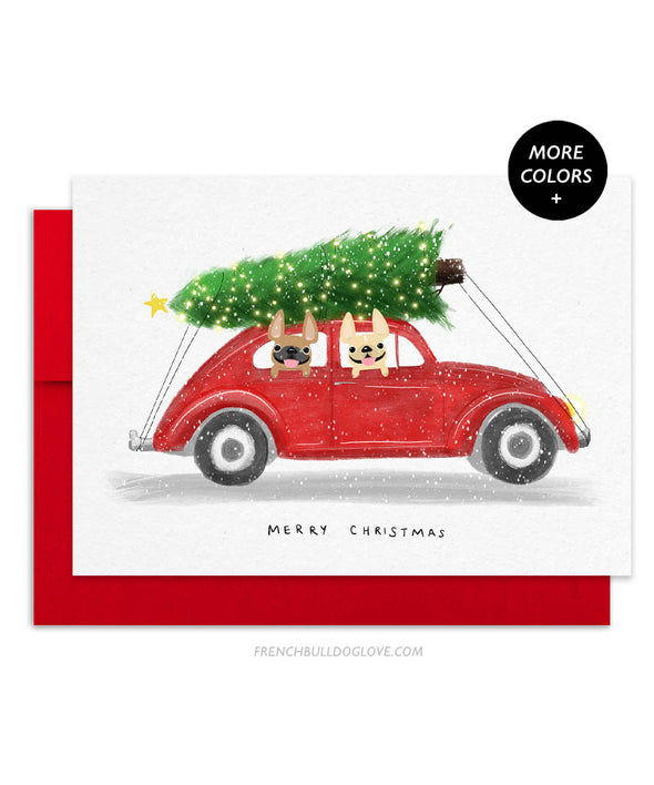 Holiday Buggy - French Bulldog Holiday Card