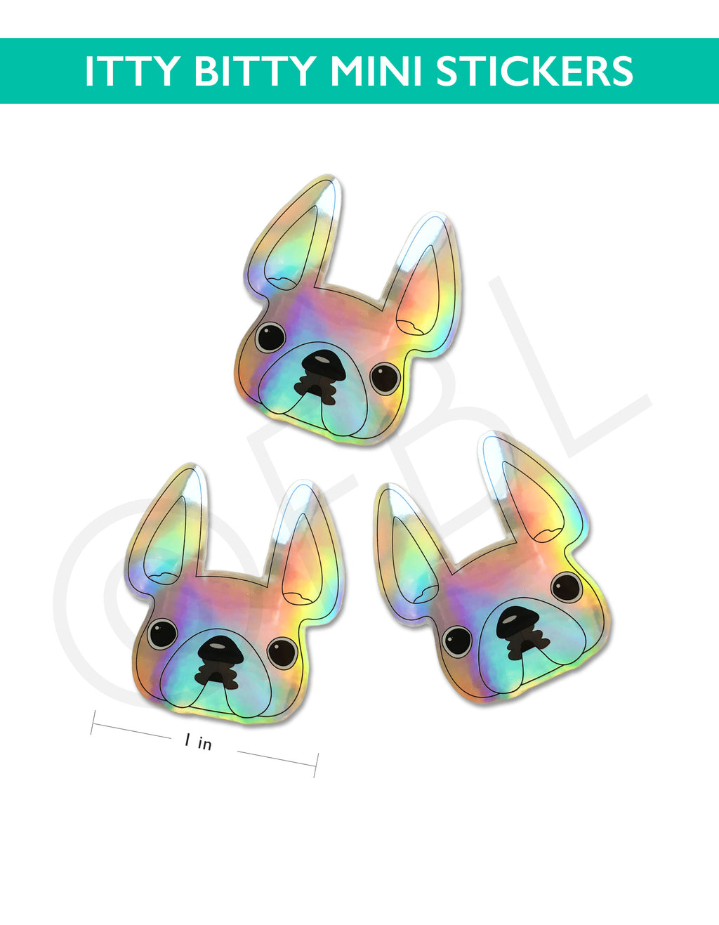 Itty Bitty Mini Holographic French Bulldog Sticker - Set of 3