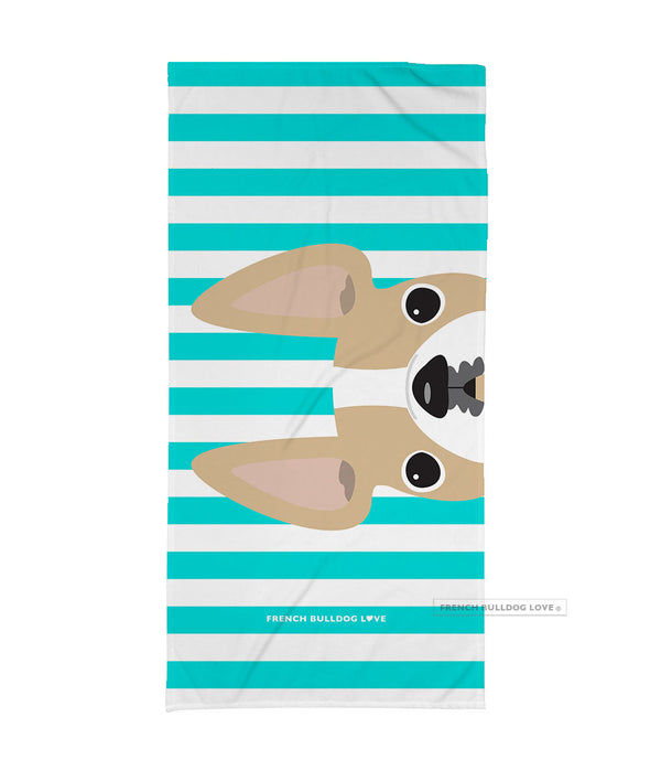 BACKORDERED - Honey Pied / Striped French Bulldog Beach Towel