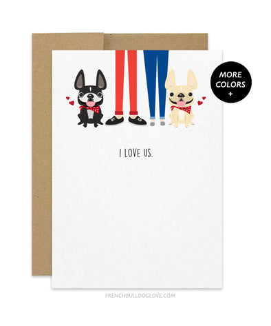 I Love Us TWO FRENCHIES - French Bulldog Greeting Card