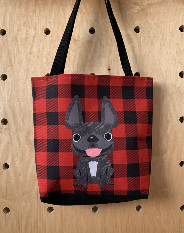 Plaid Tote Bag - Brindle French Bulldog Tote Bag