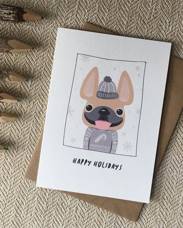 Sweater Weather Happy Holidays French Bulldog Holiday Card