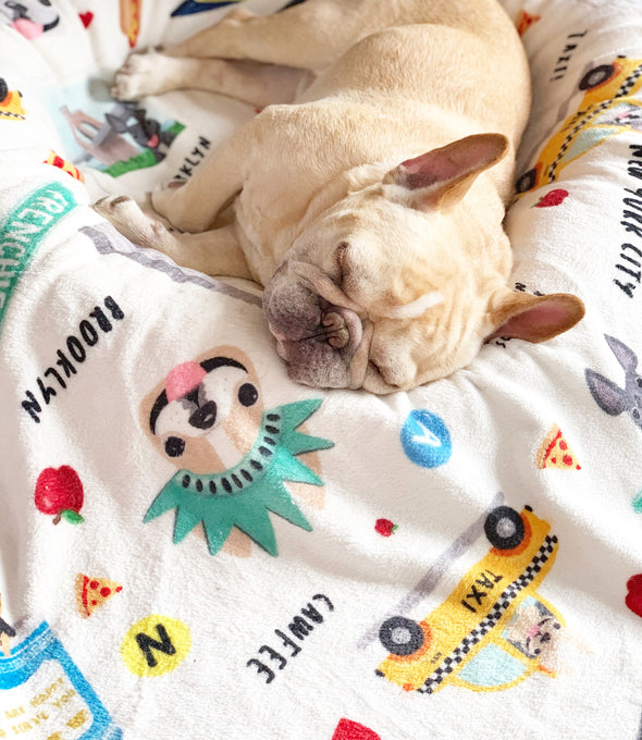 New York New York French Bulldog Fleece Blanket - Small