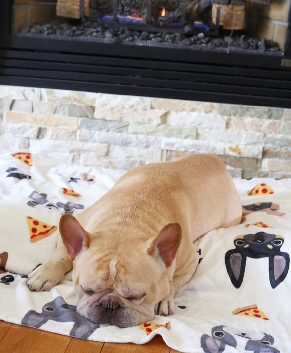 Pizza Party Frenchie Faces Fleece Blanket - Large