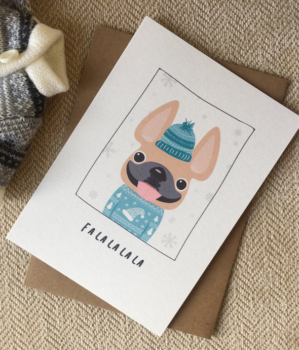 Sweater Weather Falalalala French Bulldog Holiday Card
