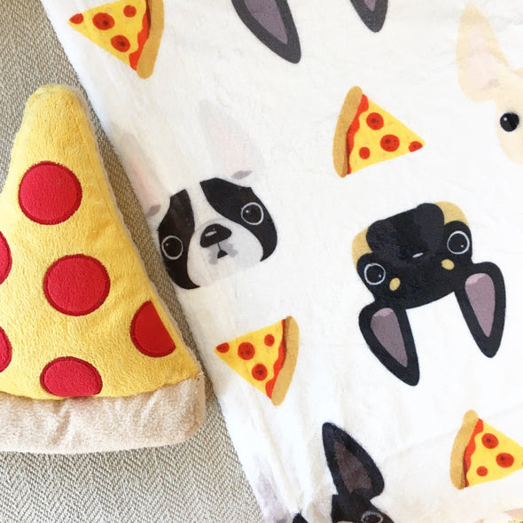Pizza Party Frenchie Faces Fleece Blanket - Small