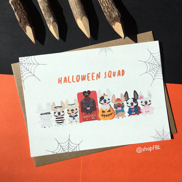 Halloween Squad French Bulldog Greeting Card