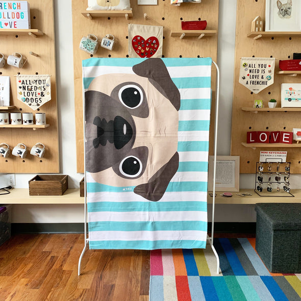 Cream Pug / Striped Pug Beach Towel