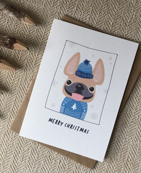 Sweater Weather Merry Christmas French Bulldog Holiday Card
