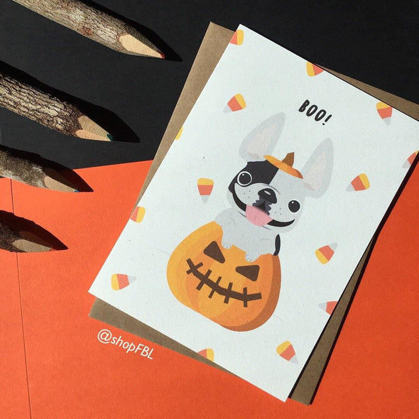 BOO! Halloween French Bulldog Greeting Card