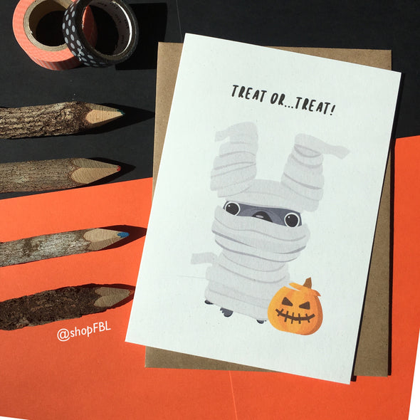 Halloween Treat or Treat French Bulldog Greeting Card