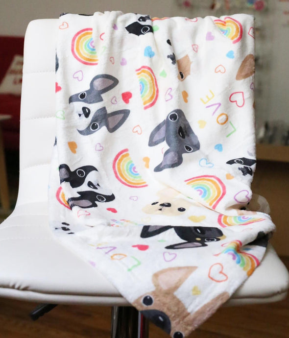 LOVE IS LOVE French Bulldog Fleece Blanket - Small