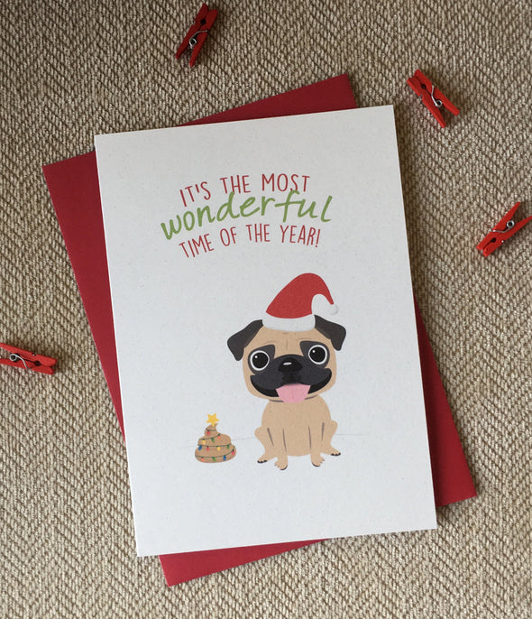 Pug - Most Wonderful Time of the Year - Holiday Christmas Card