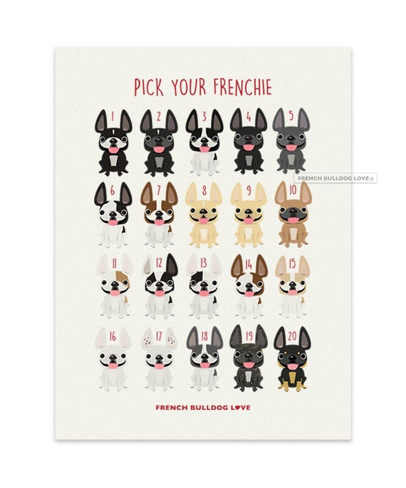 #100DAYPROJECT French Bulldog Note Cards Box Set of 12 - COFFEE