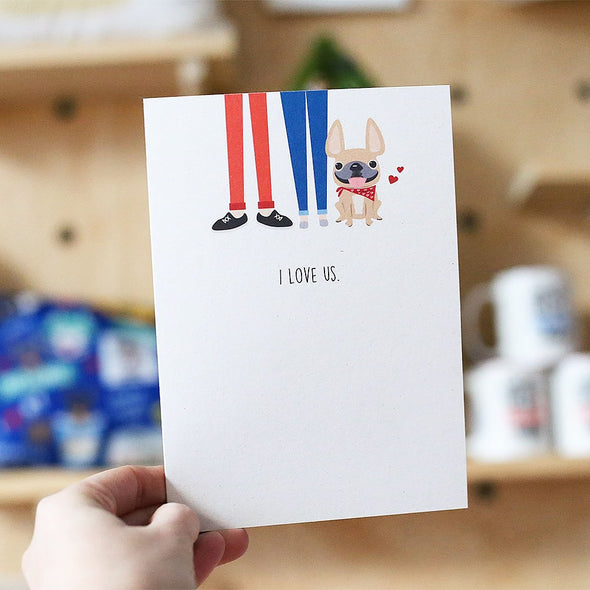 I Love Us French Bulldog Greeting Card