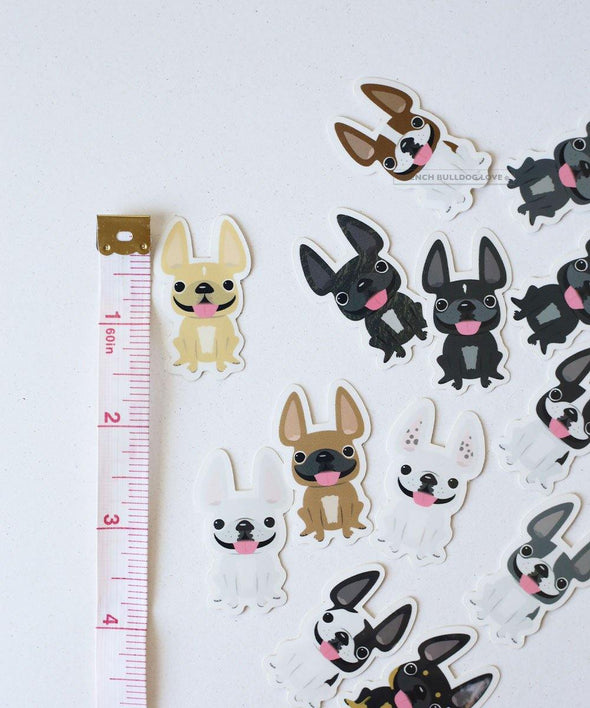 Itty Bitty Mini Stickers - Set of 2 - Frenchie #8 - Waterproof Vinyl