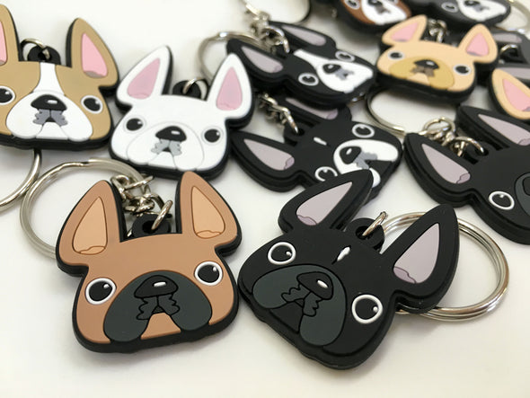 Frenchie Face Mini Keychain / Black & White - French Bulldog Love - 4