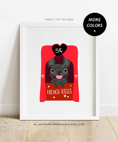 Kissing Booth Frenchie - French Bulldog Halloween Print 8x10