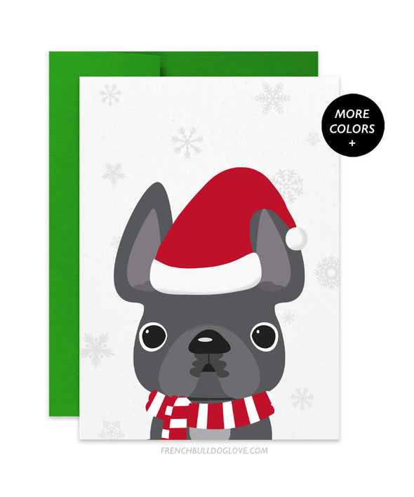 Little Santa French Bulldog Holiday Card