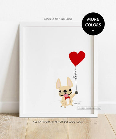Balloon Love - Custom French Bulldog Print 8x10