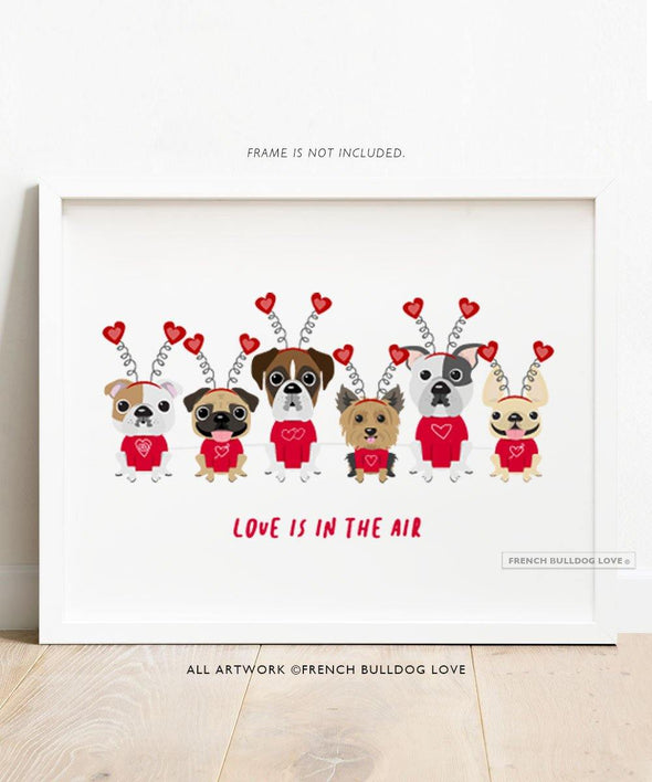 A Dog Park Valentine's Day - Puppy Love - French Bulldog and Friends Dog Print 8x10