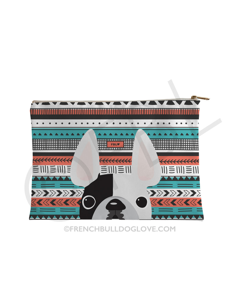 White Pied / Geometric French Bulldog Pouch - French Bulldog Love - 1