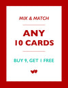 Mix & Match / 10 Cards / Buy 9, Get 1 FREE - French Bulldog Love - 1