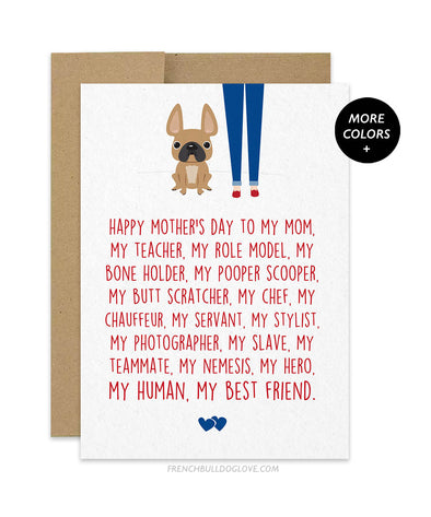 Mom Servant - French Bulldog Mother's Day Card