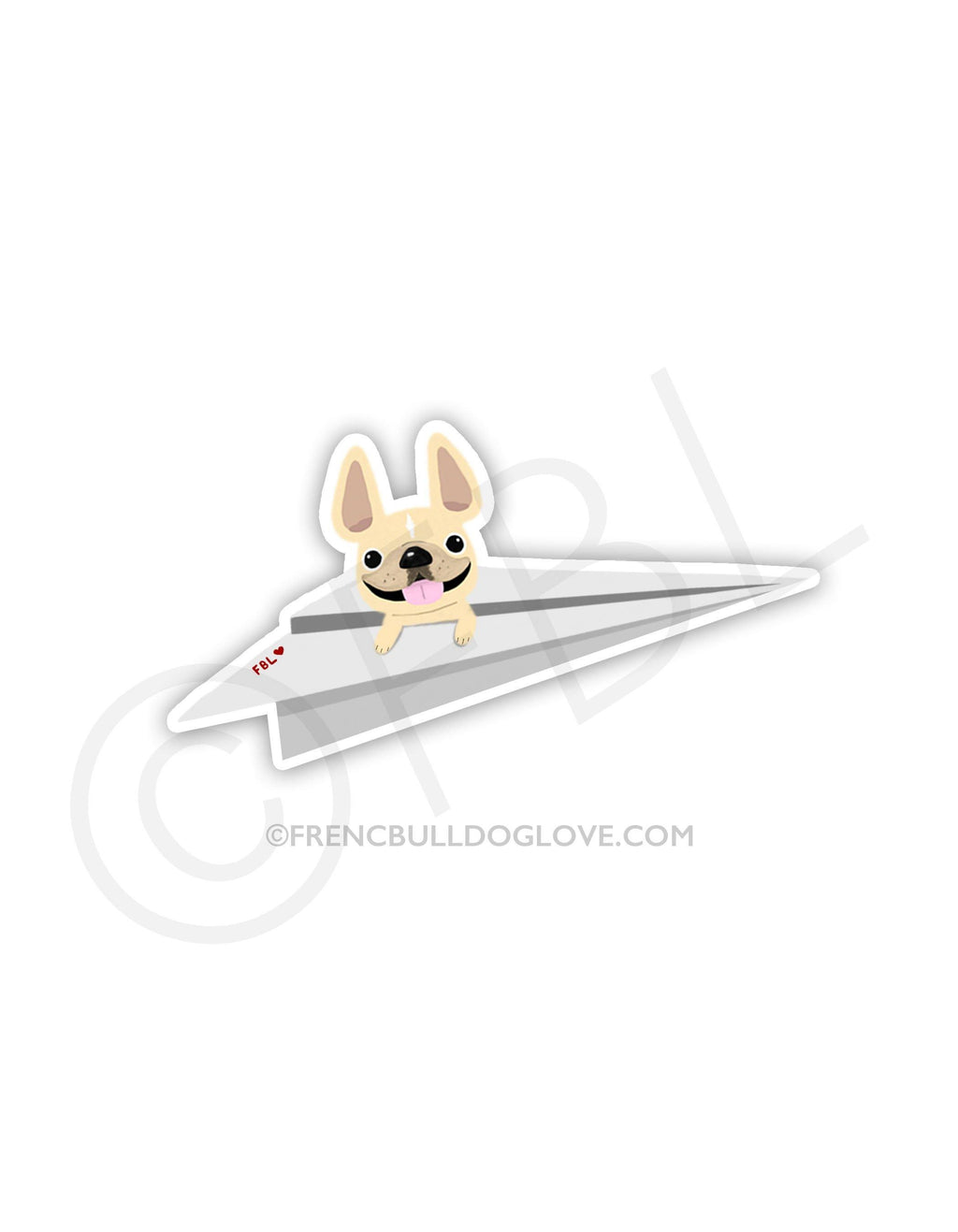 #100DAYPROJECT 51/100 - PAPER PLANE VINYL FRENCH BULLDOG STICKER