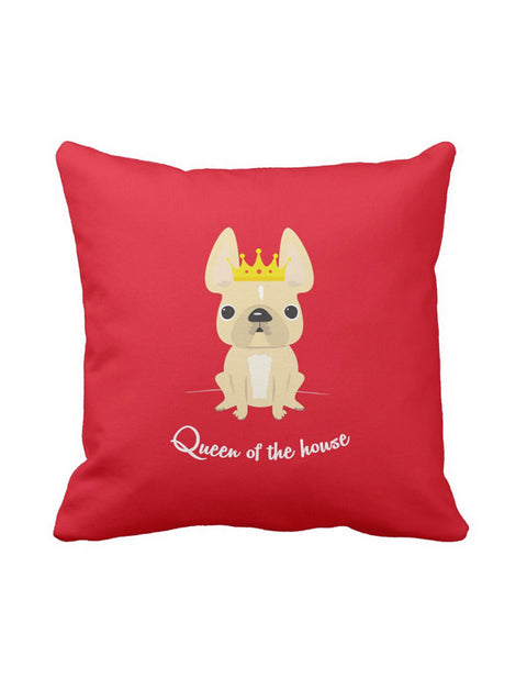 Queen of the House French Bulldog Pillow / Cream - French Bulldog Love - 1
