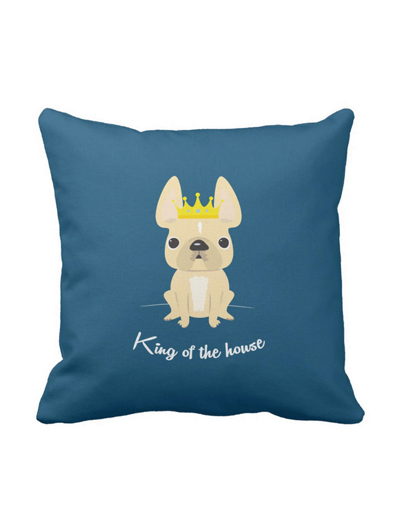 King of the House French Bulldog Pillow / Cream w Stripe - French Bulldog Love - 1