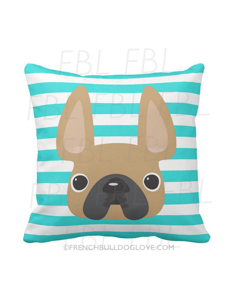 Striped French Bulldog Pillow / Fawn on Teal - French Bulldog Love - 1