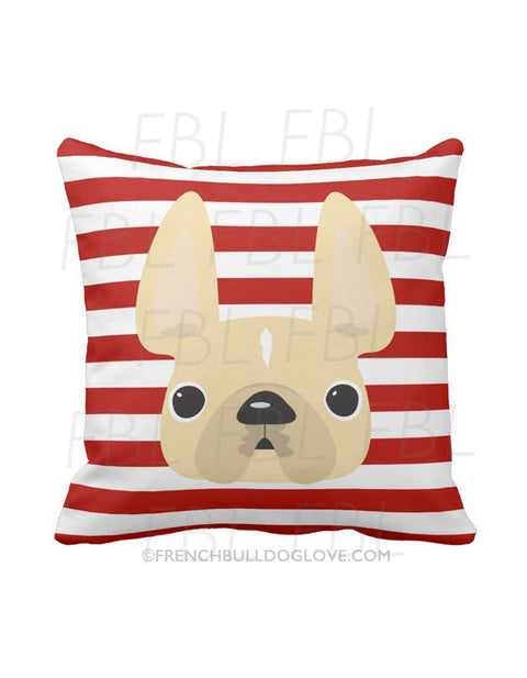 Striped French Bulldog Pillow / Cream on Red - French Bulldog Love - 1