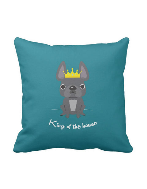 King of the House French Bulldog Pillow / Grey - French Bulldog Love - 1