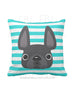 Striped French Bulldog Pillow / Grey on Teal - French Bulldog Love - 1