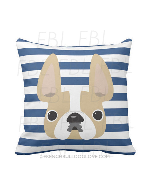 Striped French Bulldog Pillow / Honey Pied on Navy - French Bulldog Love - 1