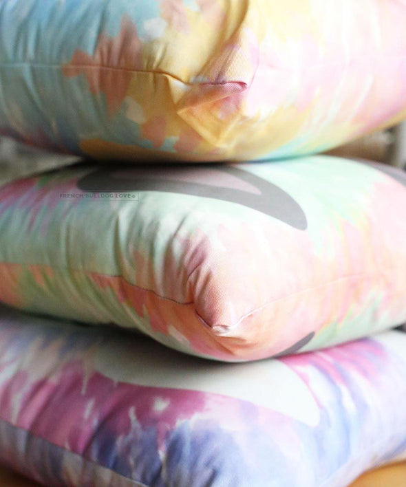 READY TO SHIP - French Bulldog Tie Dye Pillow - Pinks - White