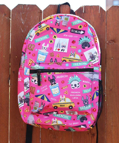 NYC French Bulldog Backpack by French Bulldog Love - PINK