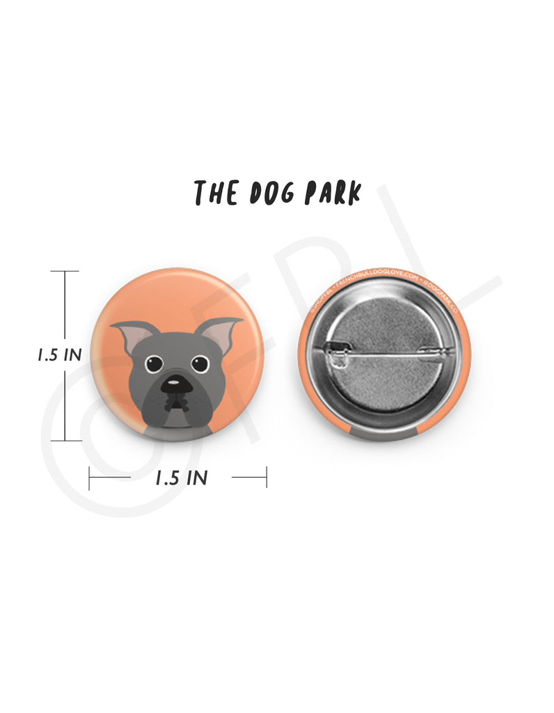 Mini Pit Bull Button - 1.5 inch - Grey