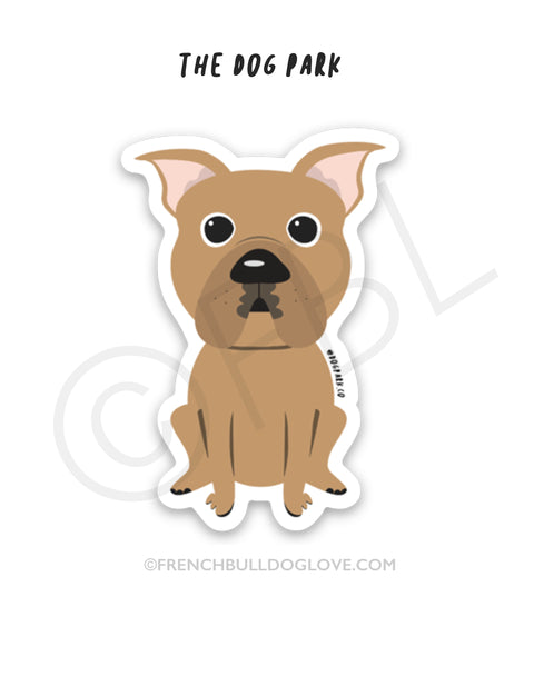 Pit Bull Mini Sticker - The Dog Park by French Bulldog Love
