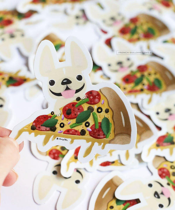 PIZZA STICKER - WATERPROOF VINYL FRENCH BULLDOG STICKER