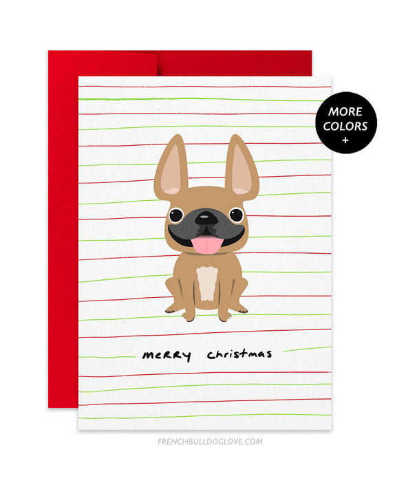 Holiday Cheer - Peppermint - French Bulldog Christmas Card