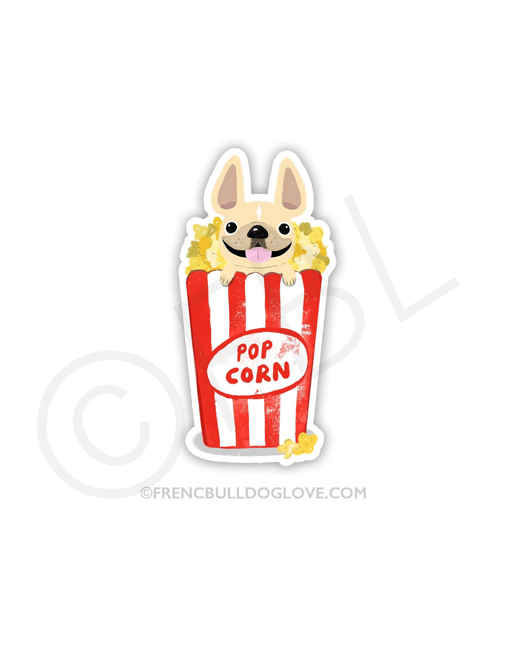 #100DAYPROJECT 34/100 - POPCORN VINYL FRENCH BULLDOG STICKER