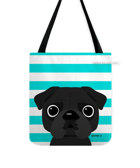 Pug Tote Bag - Black Pug