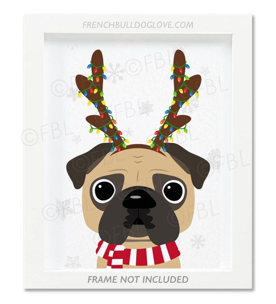 Pug With Antlers - Custom Holiday Pug Print 8x10