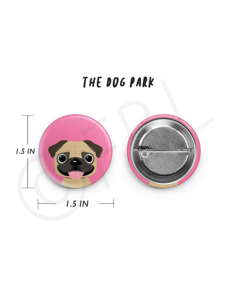 Mini Pug Button - 1.5 inch