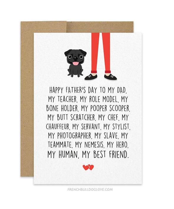 Dad Servant - Pug Father's Day Card